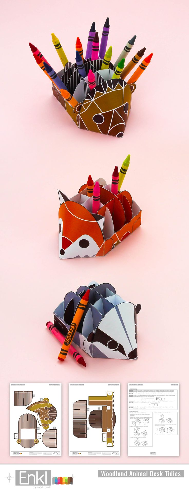 ENKL Woodland Animals Desk Tidies - Make your own cute animal desk tidies to keep your pens and pencils neat. New craft activities for parents and children to work on together whilst the results has a more grown up feel,
