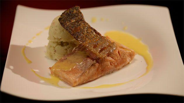 Salmon with Smoked Eel Potato Brandade and Lemon Beurre Blanc