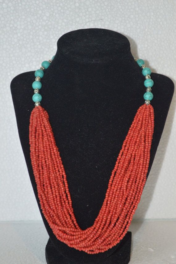 Hey, I found this really awesome Etsy listing at https://www.etsy.com/listing/211415871/turquoise-necklace-red-seed-beads