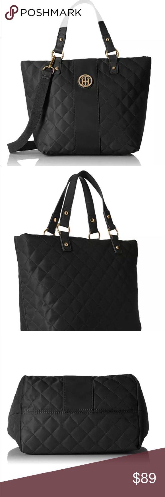 Tommy Hilfinger Quilted Black Nylon Tote Bag Tommy Hilfinger sla Quilted Black Nylon Tote/Shoulder Bag Tommy Hilfiger Bags Totes