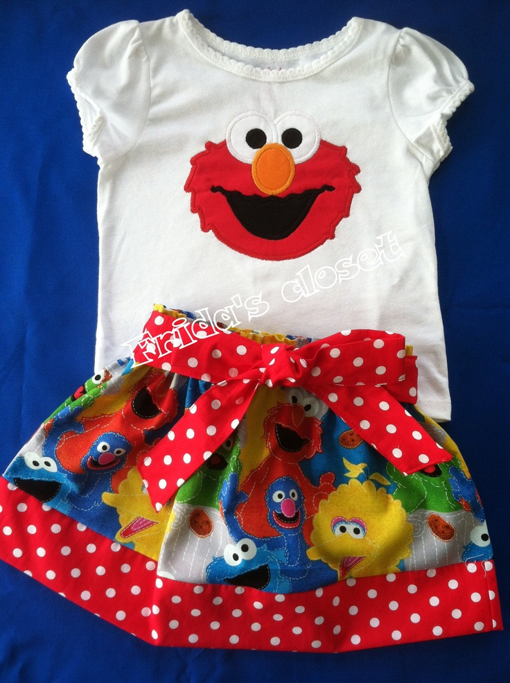 Skirt and Shirt Elmo Sesame Street Available also by fridascloset1