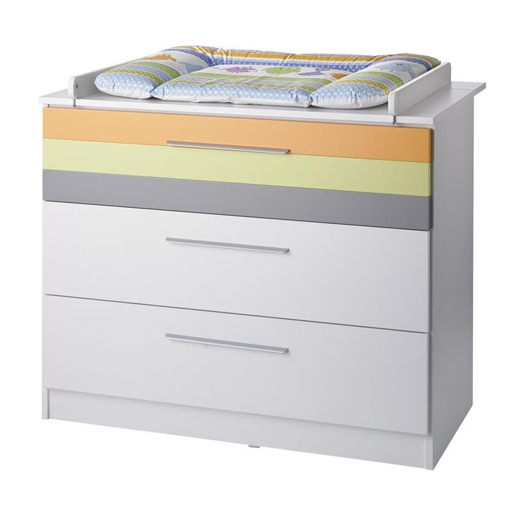 Commode à langer blanche + bandes multicolores avec 3 tiroirs May - #Geuther - #BadBouille