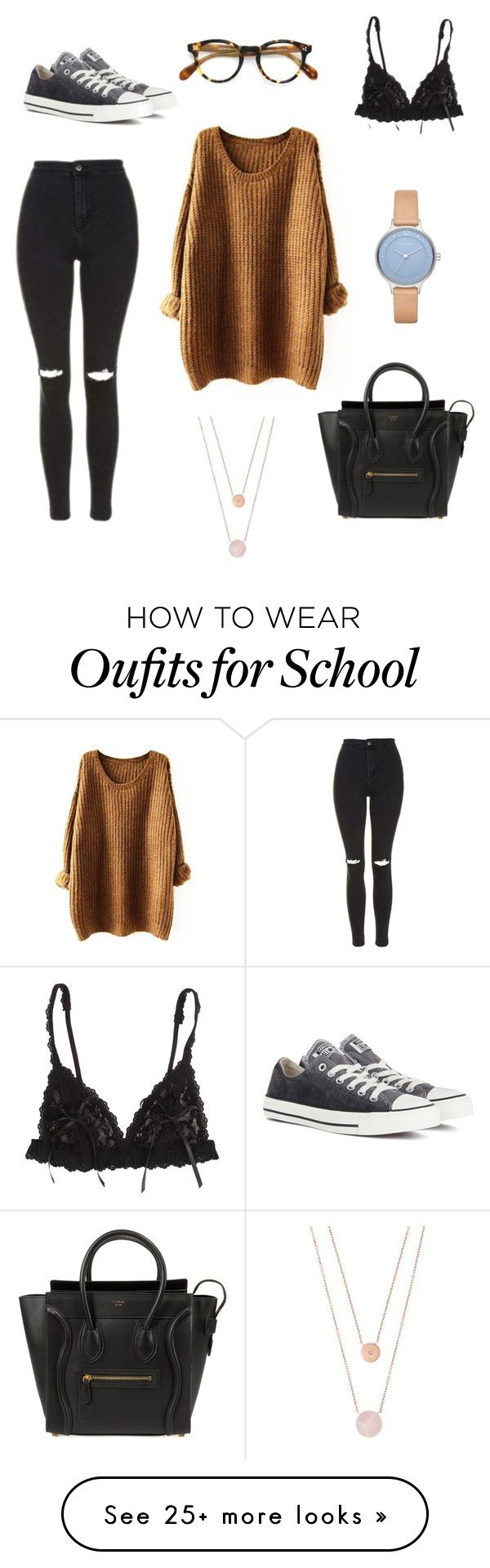 """""""School #2"""" by lalalallalala9 on Polyvore featuring Hanky Panky, Topshop, CÉLINE, Skagen, Michael Kors, Converse and Oliver Peoples"""