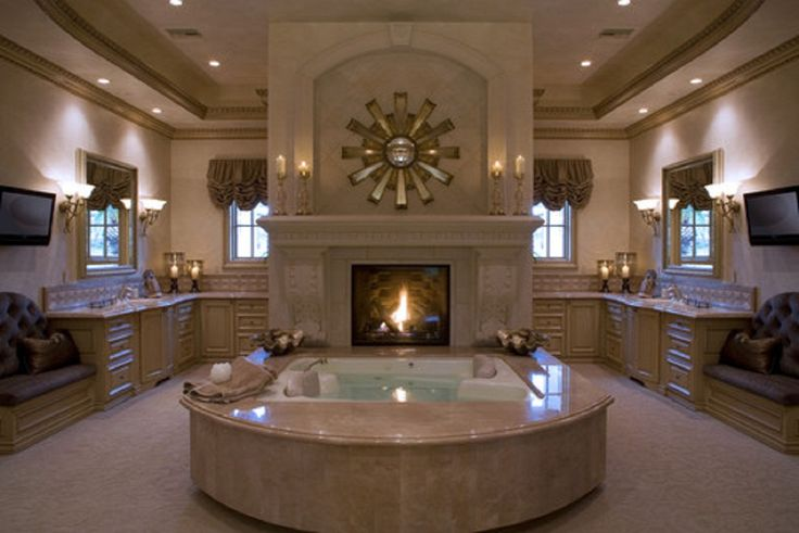 Greatest Luxury Bathroom Design Ideas With Fireplace And Bathtub Also Ceiling Hidden Lamps Interesting Decorate Luxury Bathroom Ideas