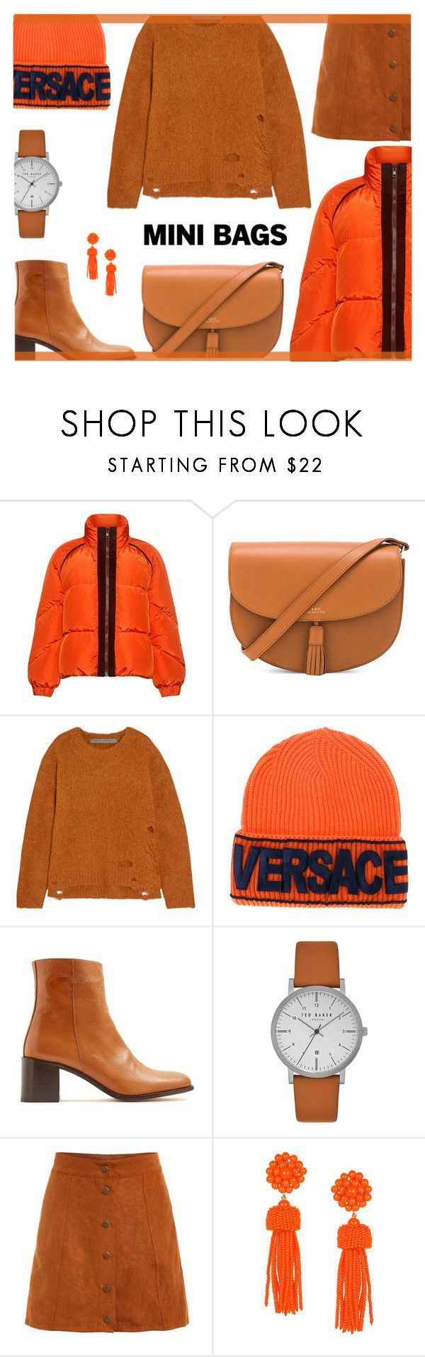 """""""So Cute: Mini Bag"""" by rasa-j ❤ liked on Polyvore featuring Ganni, A.P.C., Raquel Allegra, Versace, Maryam Nassir Zadeh, Ted Baker, womensFashion and minibags"""