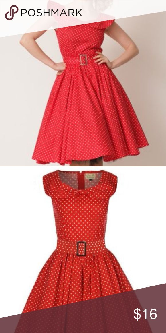Lindy Bop 'Hetty' Red Polka Dot Swing Dress Lindy Bop 'Hetty' Red Polka Dot Bow Shawl Collar Vintage Style 1950's Rockabilly Swing Party Dress. This dress is beautiful. I wore it to an event and got lots of compliments. Does not include a petticoat, but looks great with one. UK Size 14 - fits a US size 12  Full Circle Skirt Section With A Gorgeous Bow Shawl Collar 97% Cotton, 3% Elastane Swing Dress Stretch Cotton Fabric With Polka Dots Lindy Bop Dresses Midi