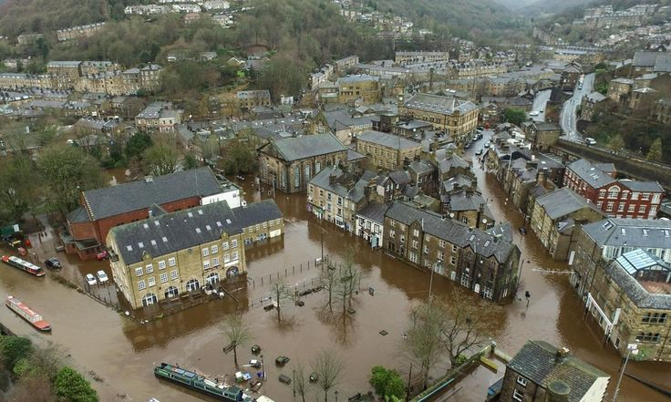 Drone footage of flooding in Hebden Bridge and Mytholmroyd – video