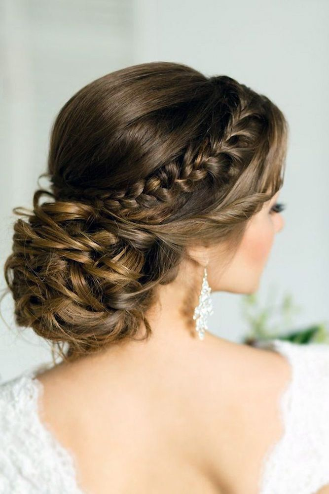 30 Graceful Wedding Updos With Braids ❤️ wedding updos with braids low bride hair style elstile via instagram ❤️ See more: http://www.weddingforward.com/wedding-updos-with-braids/ #wedding #bride #weddinghairstyles #weddingbraidedupdos #braidedupdos