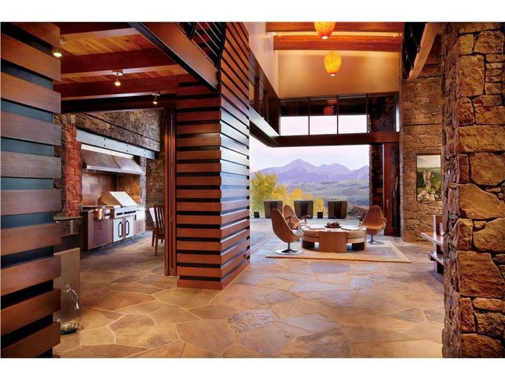 living room with amazing picture window and view