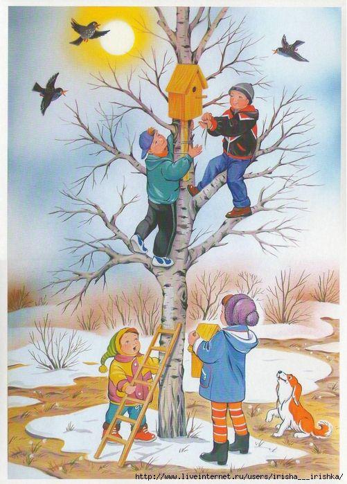 Днем, весна для дошкольников в картинках