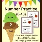 Practice Counting and Cardinality skills in SPANISH, numbers 0-10. Perfect for Dual Language Immersion Programs.  ($) Also available in French.