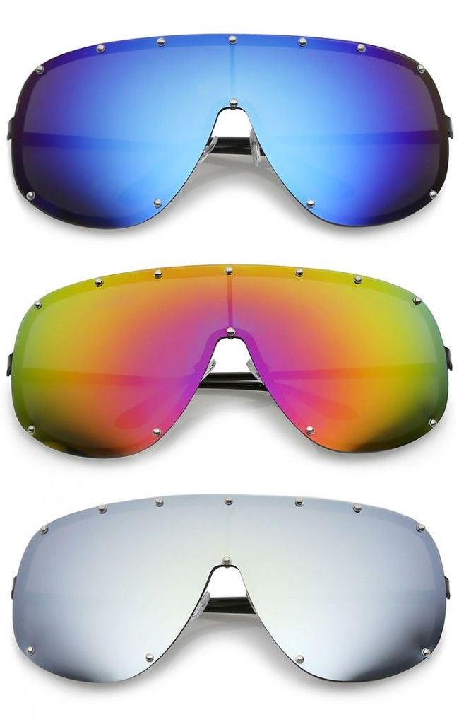 31f65a8b005 Futuristic Oversize Rimless Colored Mirrored Mono Lens Shield Sunglasses  75mm