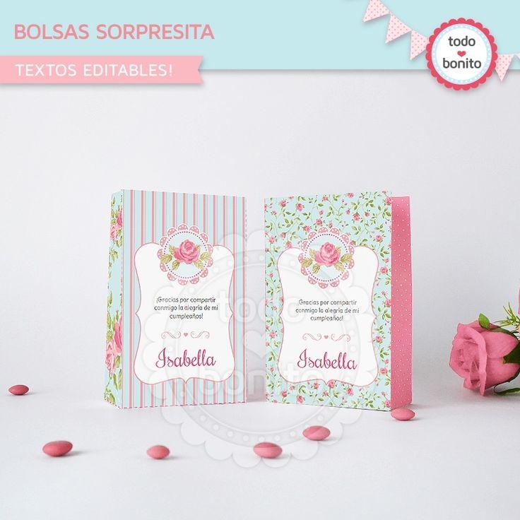 Shabby Chic aqua+rosa: bolsa sorpresita para imprimir - Todo Bonito
