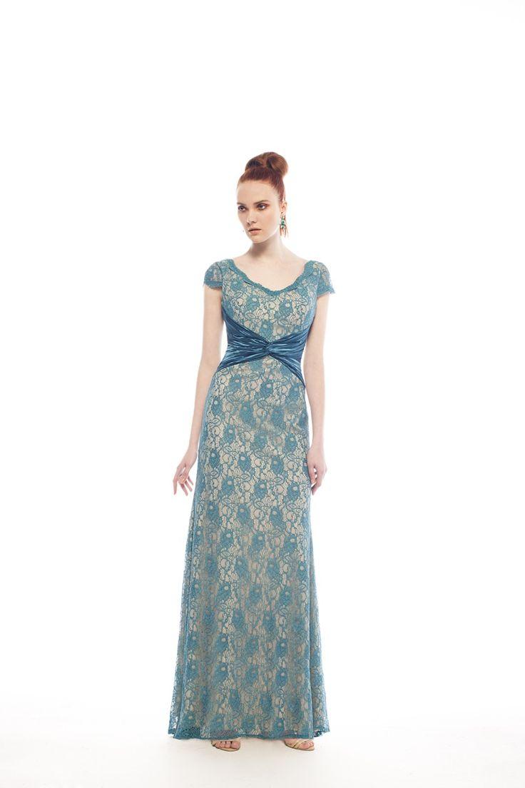 Μάξι Φόρεμα από Δαντέλα με Μανίκι για Μητέρα της Νύφης