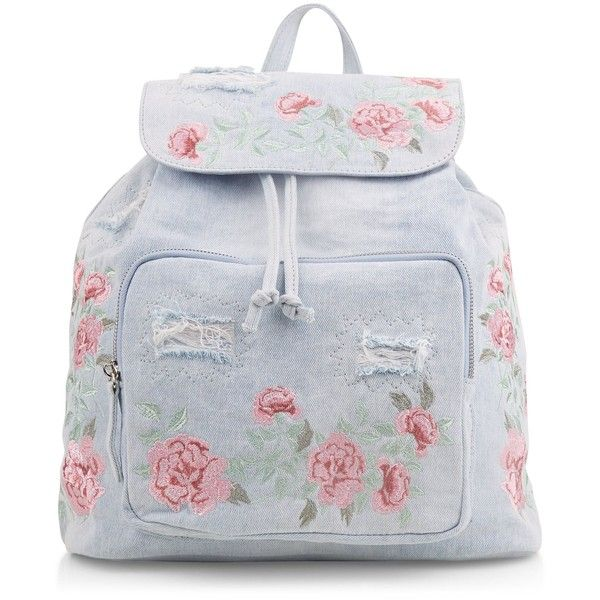 New Look Light Blue Denim Embroidered Backpack ($33) ❤ liked on Polyvore featuring bags, backpacks, pale blue, one strap backpack, denim rucksack, drawstring backpack, light blue backpack and drawstring backpack bag