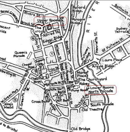Detail from a map of Bath, 1800.