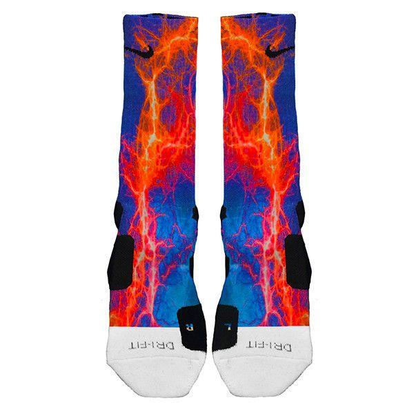Kaboom Orange Blue Custom Nike Elite Socks #Nike #Socks