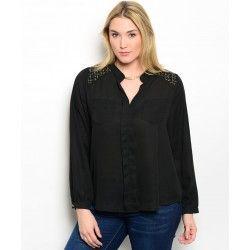 Ladies Plus size Black Shirt Gold Tweed Shoulder Trim XL 2XL 3XL