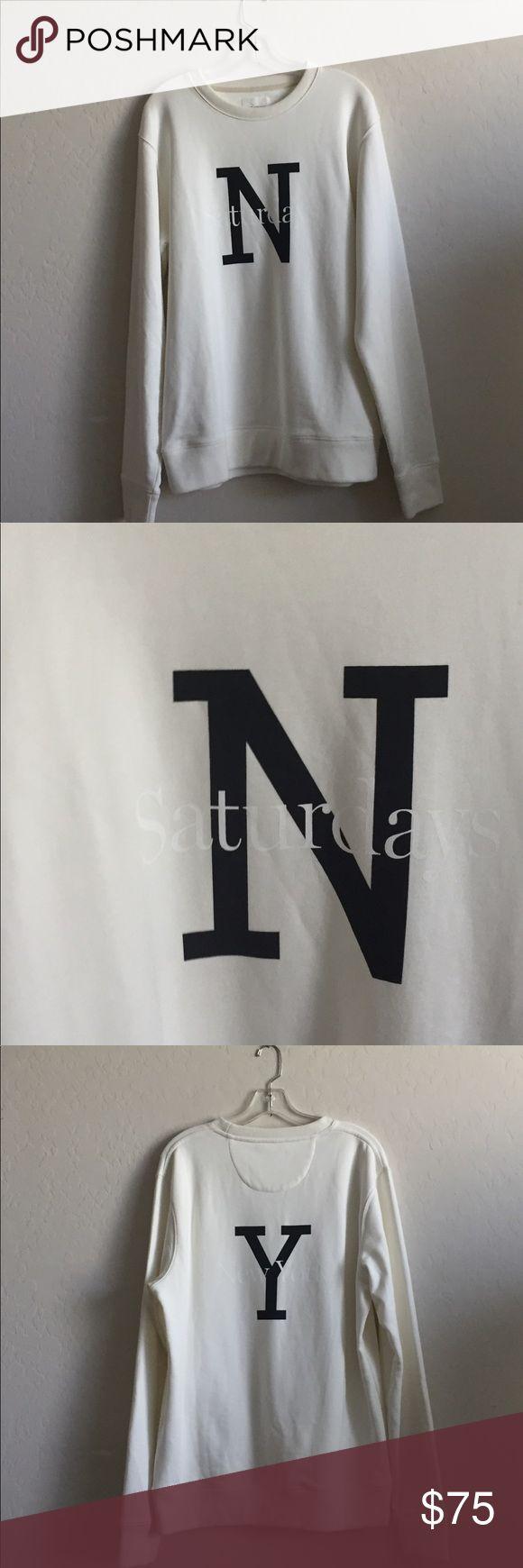 Saturdays Surf NY ecru cotton sweatshirt- NWOT Saturdays NY ecru cotton sweatshirt with white and black logo graphic -NWOT Saturdays New York City Shirts Sweatshirts & Hoodies