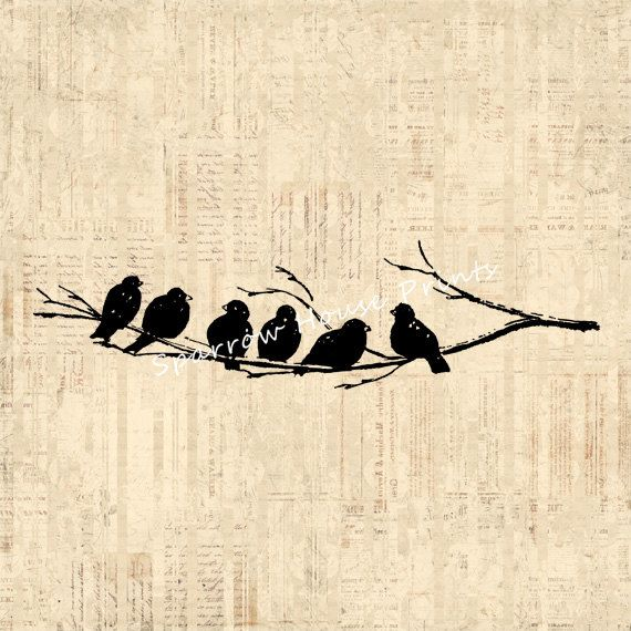 Antique Art Birds On Tree Branch Wall Bird Print Vintage Artwork With Script Paper