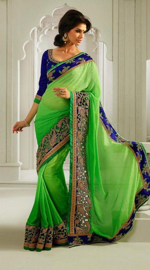 Green Georgette Embroidred Saree EK11704
