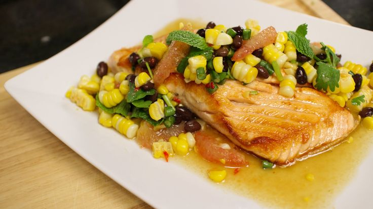 Salmon w/ Corn & Bean Salsa - Hot Thai Kitchen!