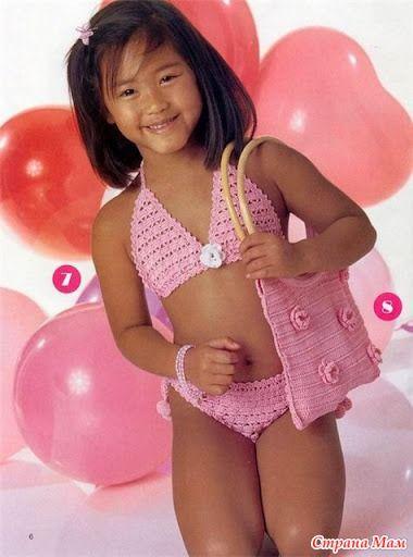 Розовый купальник для девочки крючком - Вязание для детей - Страна Мам