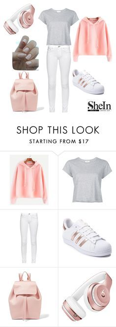 """""""Pink hoodie"""" by fashion-queen25 ❤ liked on Polyvore featuring RE/DONE, rag & bone, adidas, Mansur Gavriel and Beats by Dr. Dre"""