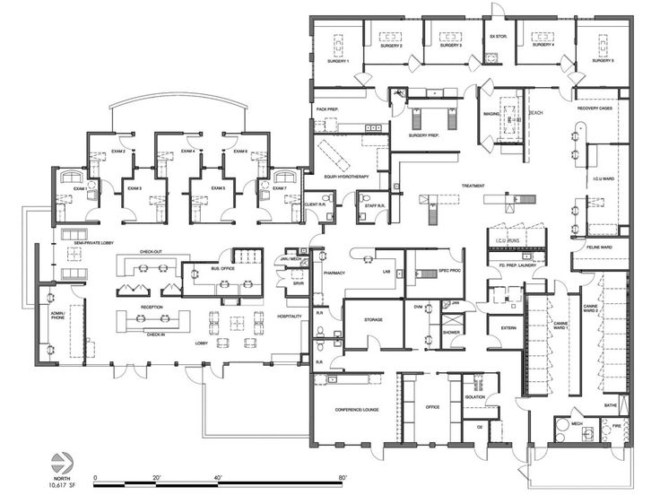 Veterinary floor plan: Animal Surgical Clinic of Seattle/Animal Medical Center of Seattle