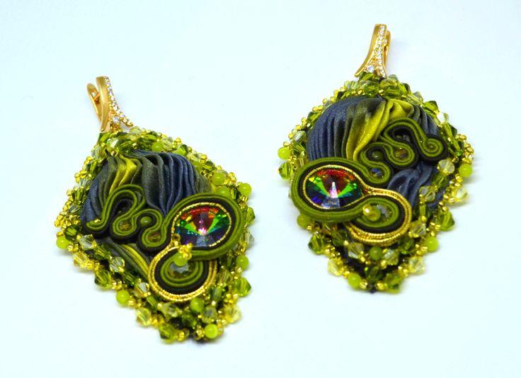 Silk shibori ,soutache earrings by MarutasJewellery on Etsy