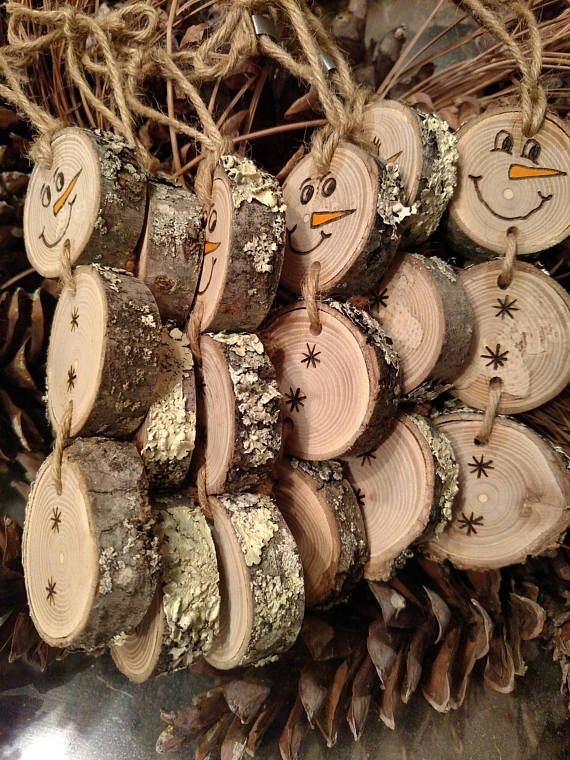 The listing is for one stacked snowman ornament - each will be slightly different as each wood disc has its own markings and imperfections. These Snowmen are made out of wood discs with moss still attached. No trees are damaged to make my ornaments. The moss on the back is not