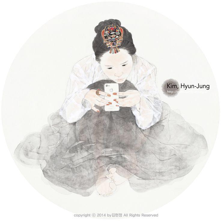 Kim Hyun JUng 한지 위에 수묵담채, 꼴라쥬 Color and collage on Korean paper 紙本淡彩, 拼贴艺术