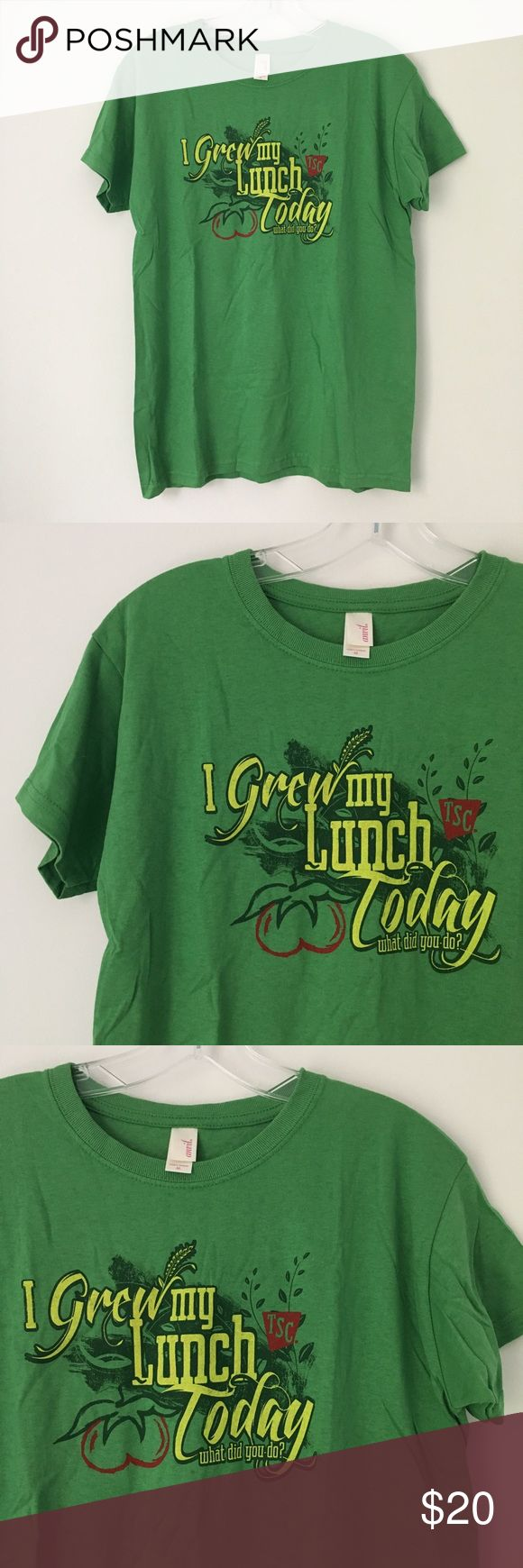 """GREEN TRACTOR SUPPLY FARM GARDEN TEE SHIRT TOP !! Tags: Cool TSC Tractor Supply Company Co. Farm Girl Country Cutie Farming Agriculture Tomato Tomatoes Garden Gardening """"I grew my lunch today, what did you do?"""" Sassy Sexy Bright Green Short Sleeve Graphic Tee Shirt Top.  Brand new. Never used. NO flaws.  MSRP: $29.95.  Tagged a MEDIUM, could also work for women's XS/Small depending on your desired style fit.  •Chest- 19"""" across •Length (shoulder to bottom hem)- 26"""" long  •NO holds, returns…"""