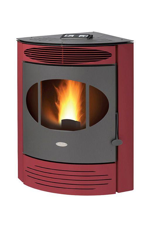 Pellet heating stove / contemporary / earthenware / steel - S7 - FAIR srl