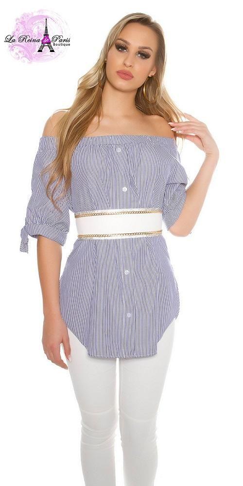 Blusa de rayas larga off the shoulders