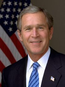 President George W. Bush - a member of the Republican Party, took office as the 43rd President of the United States on January 20, 2001 at age 54. Bush served in office for 8 years, 2001-2009 and left at the end of his second term. He was born in New Haven, Connecticut and received an education from Yale University.