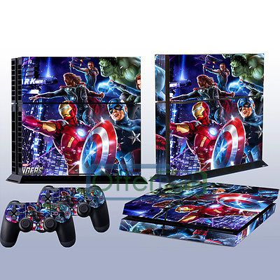 Marvel heroes Decal Skin Sticker For Playstation 4 PS4 Console and Dualshock Controller Cover.