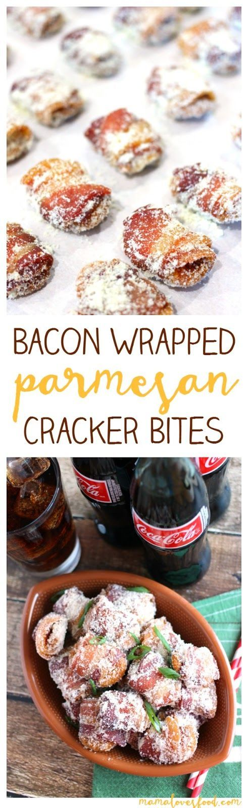 Bacon Wrapped Parmesan Crackers - these are cheesy bacony savory bites of heaven! The perfect recipe for your next party :-D