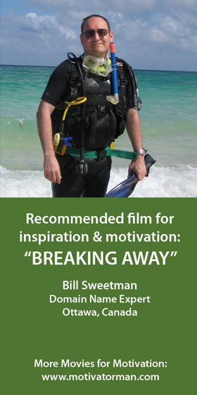 """""""Breaking Away has inspired me since I've been a teen because it shows how success can emerge from anywhere. I've always been a fan of cycling so the film means a lot to me. It inspired me to push myself further in my career and take greater risks as an entrepreneur."""" Bill from Ottawa, Canada  SEE ALL MOVIE RECOMMENDATIONS: http://bit.ly/movieloversaroundtheworld"""