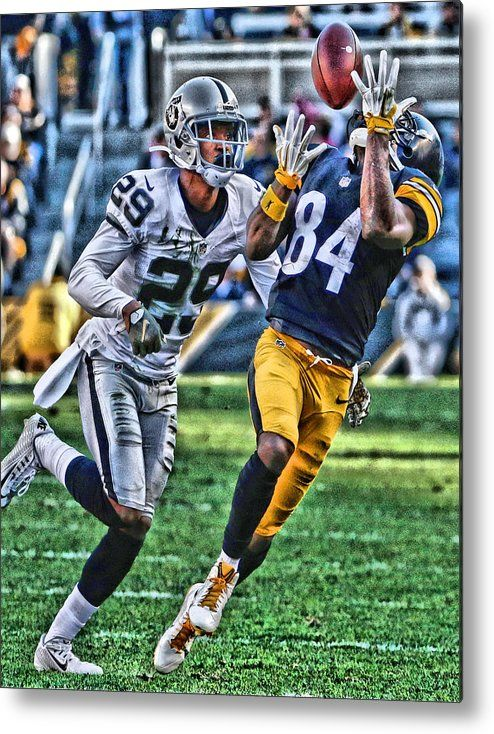 Antonio Brown Metal Print featuring the painting Antonio Brown Steelers Art 3 by Joe Hamilton