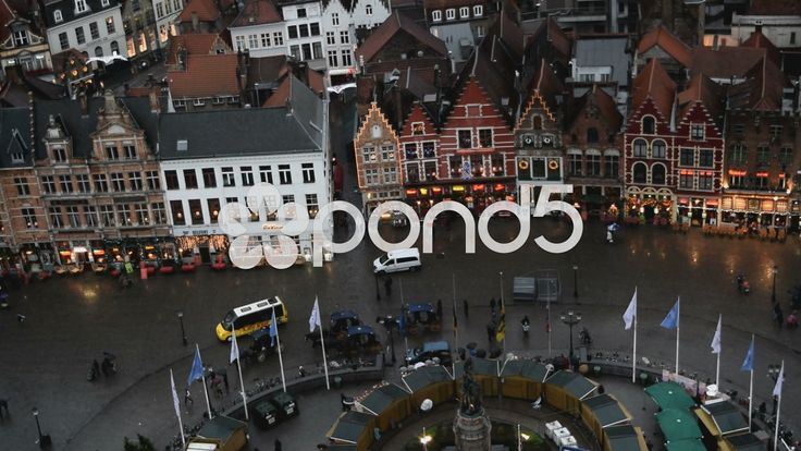 View from Belfry of Bruges. Markt Sq. Xmas market & Restaurants. Bruges Belgium - Stock Footage | by glenman77