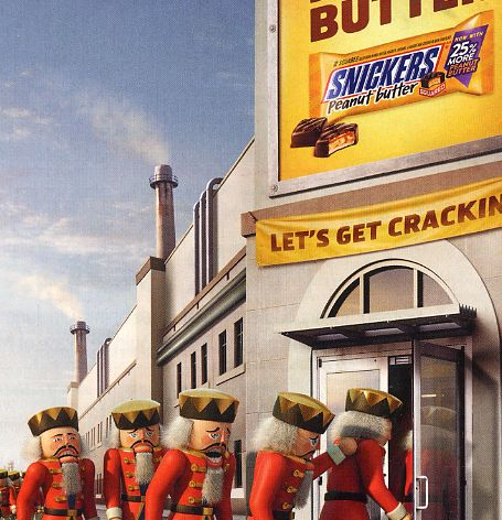 At the Snickers factory, the Nutcrackers dream of leaving splinters from their broken teeth in the candy bars to tell the world of their plight. It's their only hope!