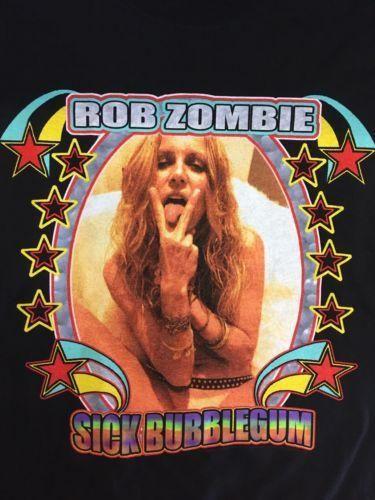 RARE Vintage ROCK Rob Zombie Sick Bubblegum Tour Men's XL T-shirt Black New