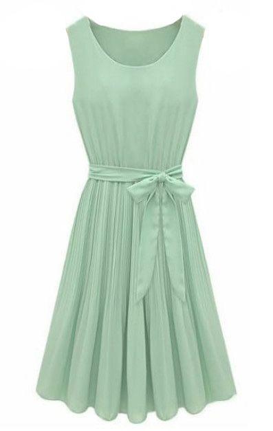 Mint Green Sleeveless Pleated Chiffon Dress