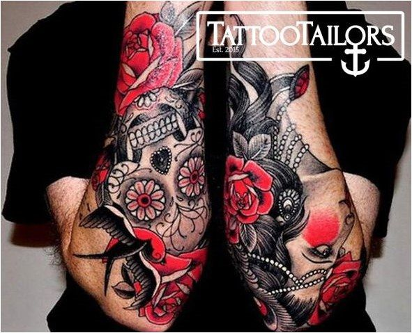 Tattoo Full Sleeve Tattoo Designs Sold By Red Rose Skull Sugar Candy Tattoo Click To See More Tattoos Red Tattoos Full Sleeve Tattoos
