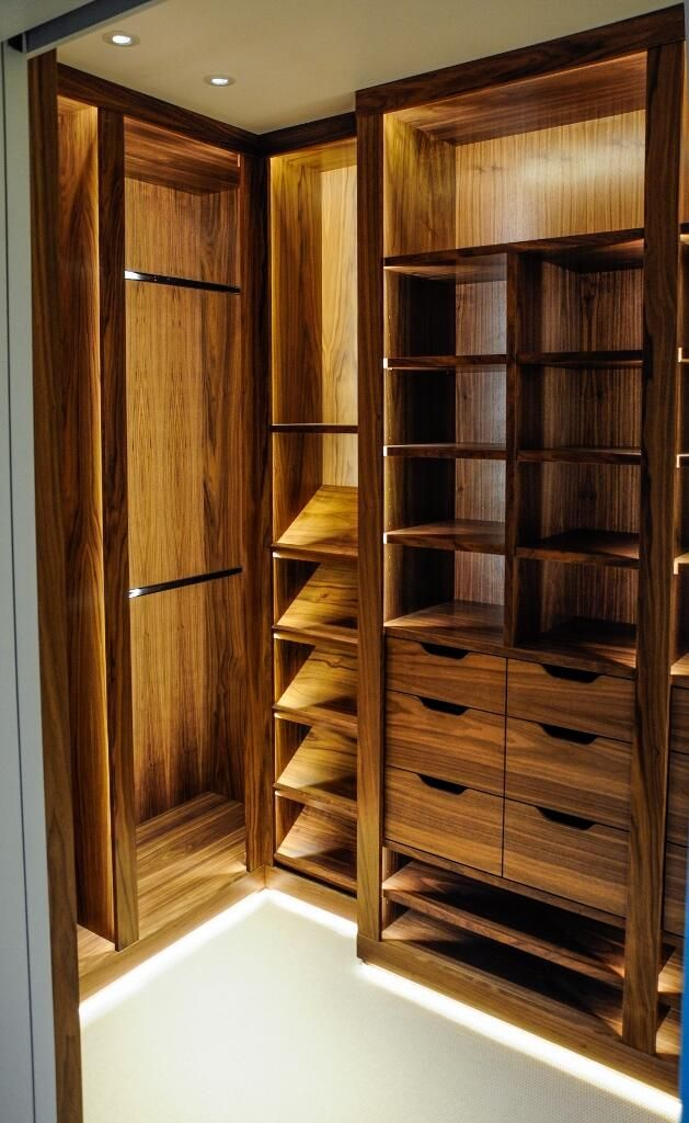 walnut walk in dressing room