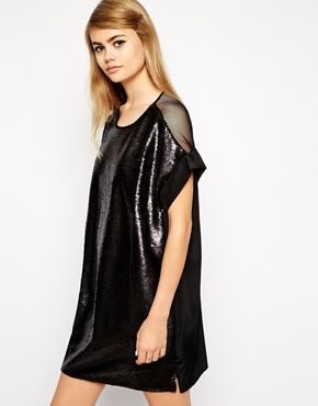 Enlarge Little White Lies Sequin T-Shirt Dress With Mesh Back