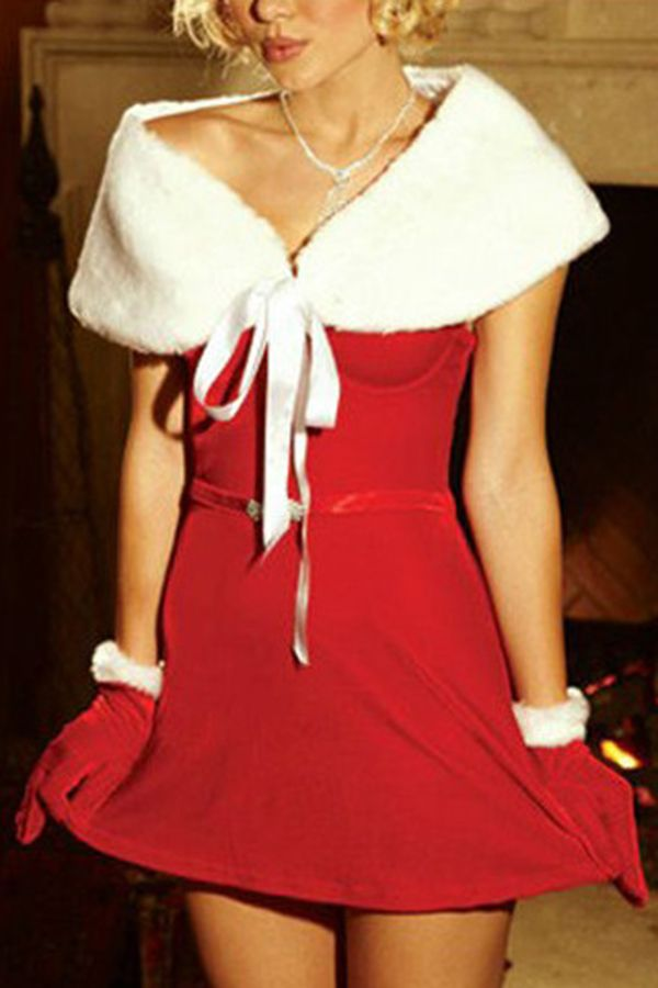 Red Cute Womens Christmas Dress with Shawl Santa Costume pinkqueen.com