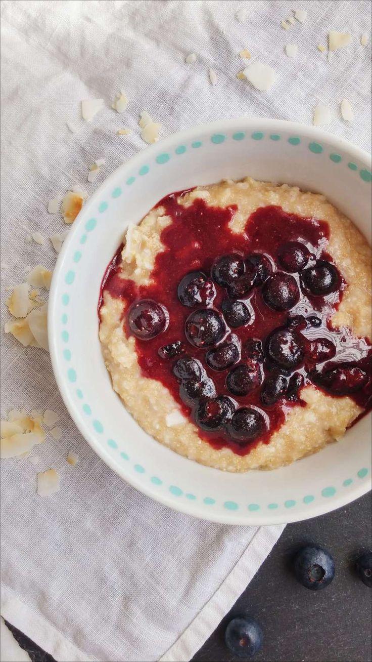 Amaranth-Porridge mit Blaubeeren - vegan, ohne Zucker