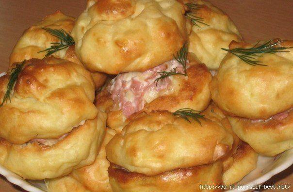 Картофельные профитроли с сырно-ветчинной начинкой | Школа шеф-повара